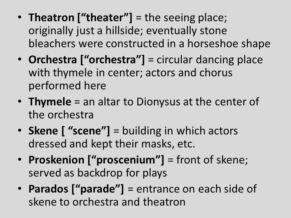Theatron [ theater ] = the seeing place; originally just a hillside; eventually stone bleachers were constructed in a horseshoe shape
